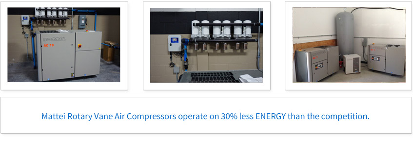 Mattei Rotary Vane Air Compressors operate on 30% less ENERGY than the competition.