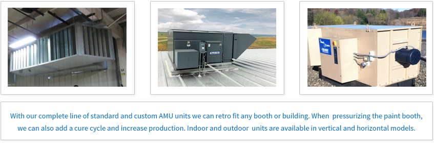 With our complete line of standard and custom AMU units we can retro fit any booth or building. When pressurizing the paint booth, we can also add a cure cycle and increase production. Indoor and outdoor units are available in vertical and horizontal models.