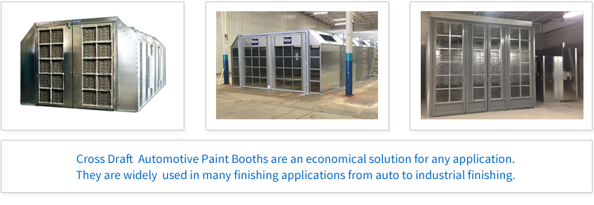 Cross Draft Automotive Booths are an economical solution for any application. They are widely used in many finishing applications from auto to industrial finishing.
