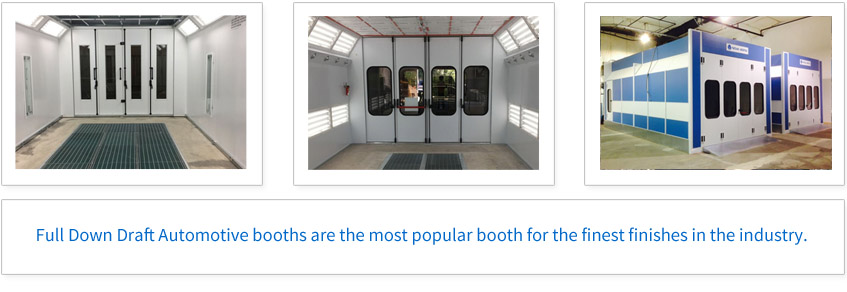 Full Down Draft Automotive Booths are the most popular booth for the finest finishes in the industry.