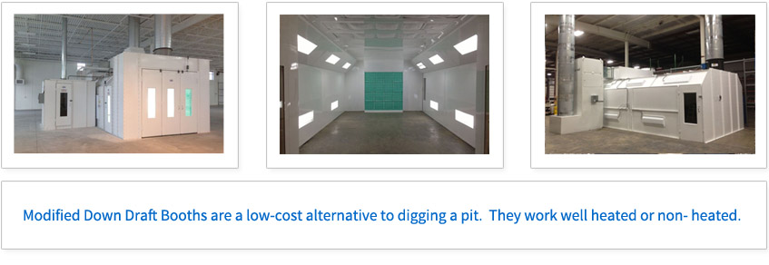 Modified Down Draft Booths are a low-cost alternative to digging a pit. They work well heated or non-heated.