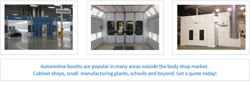 Automotive booths are popular in many areas outside the body shop market. Cabinet shops, small manufacturing plants, schools and beyond. Get a quote today!