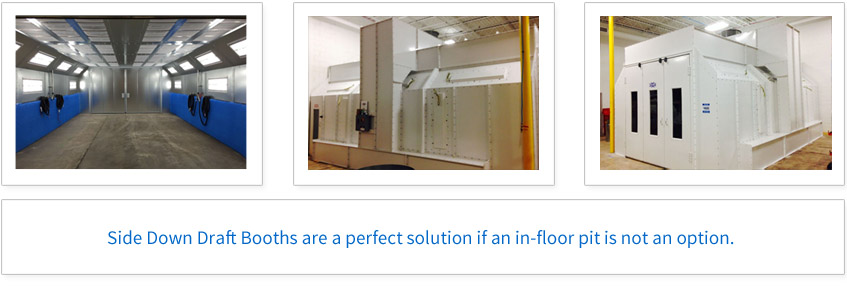 Side Down Draft Booths are a perfect solution if an in-floor pit is not an option.