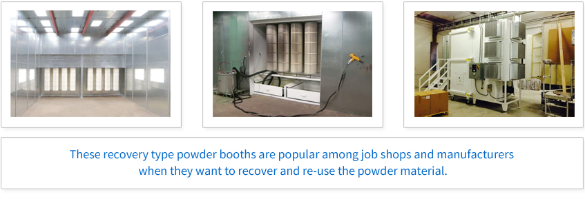 These recovery type powder booths are popular among job shops and manufacturers when they want to recover and re-use the powder material.