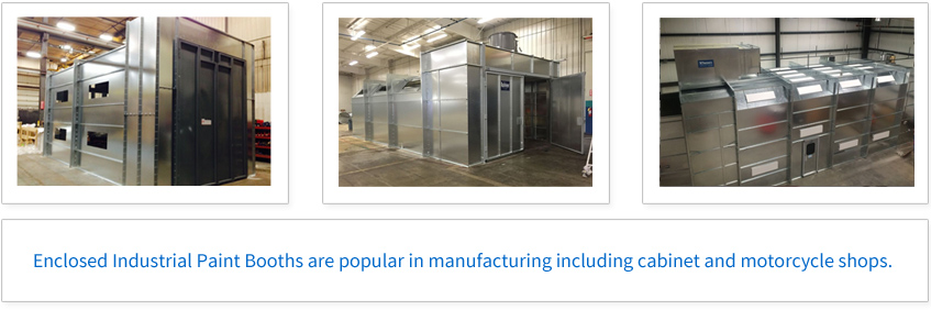 Enclosed Industrial Paint Booths are popular in manufacturing including cabinet and motorcycle shops.