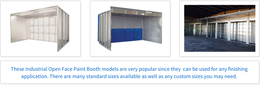 These Industrial Open Face Paint Booth models are very popular since they can be used for any finishing application. There are many standard sizes available as well as custom sizes you may need.