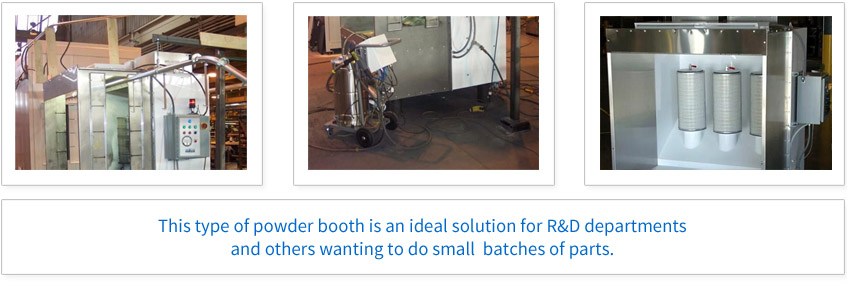 This type of powder booth is an ideal solution for R&D departments and other wanting to do small batches of parts.