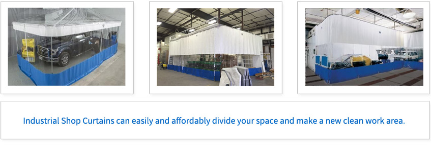 Industrial Shop Curtains can easily and affordably divide your space and make a new clean work area.
