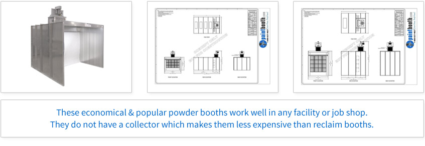 These economical & popular powder booths work well in any facility or job shop. They do not have a collector which makes them less expensive than reclaim booths.