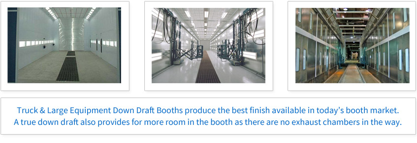 Truck & Large Equipment Full Draft Paint Booths produce the best finish available in today's booth market. A true down draft also provides for more room in the booth as there are no exhaust chambers in the way.