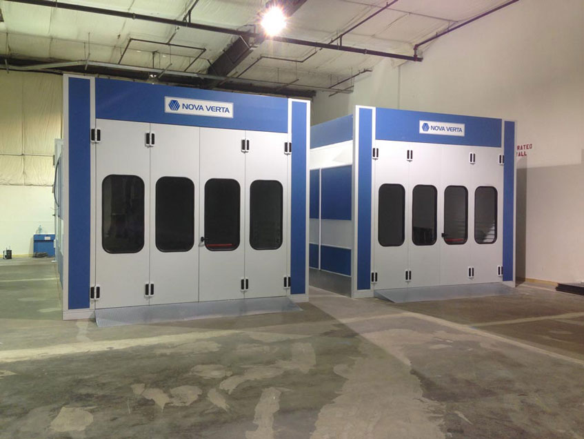 Nova Verta Raptor Direct Fire booths are built using nut and bolt assembly with vinyl-coated, galvanized, dual panel construction, guaranteeing their durability and structural integrity.