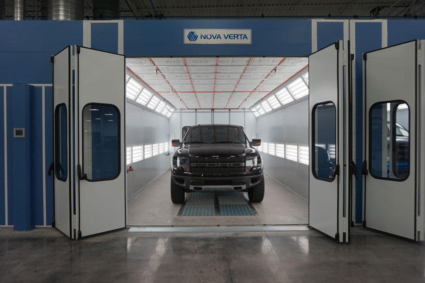 Nova Verta booths are built using nut and bolt assembly with vinyl-coated, galvanized, dual panel construction, guaranteeing their durability and structural integrity.